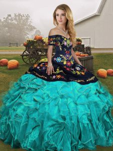 Artistic Off The Shoulder Sleeveless Quinceanera Dress Floor Length Embroidery and Ruffles Blue And Black Organza