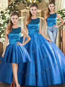Charming Blue Three Pieces Appliques Quince Ball Gowns Lace Up Tulle Sleeveless Floor Length
