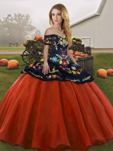 Trendy Rust Red Tulle Lace Up Ball Gown Prom Dress Sleeveless Floor Length Embroidery