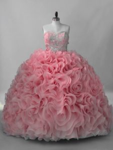 Customized Pink Fabric With Rolling Flowers Lace Up 15th Birthday Dress Sleeveless Brush Train Beading