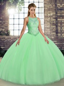 Green Lace Up Scoop Embroidery Womens Party Dresses Tulle Sleeveless