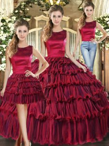 Inexpensive Floor Length Lace Up Quince Ball Gowns Wine Red for Military Ball and Sweet 16 and Quinceanera with Ruffled Layers