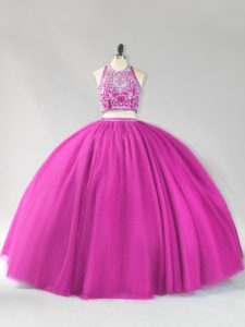 Floor Length Backless Sweet 16 Dresses Fuchsia for Sweet 16 and Quinceanera with Beading