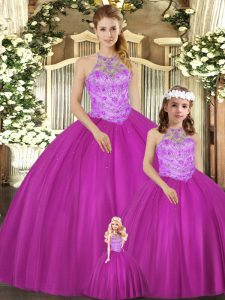 Delicate Fuchsia Tulle Lace Up 15 Quinceanera Dress Sleeveless Floor Length Beading
