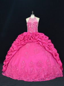 Artistic Hot Pink Lace Up Halter Top Beading and Appliques and Embroidery and Pick Ups Quince Ball Gowns Taffeta Sleeveless