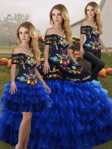 Superior Blue And Black Off The Shoulder Neckline Embroidery and Ruffled Layers Quinceanera Gown Sleeveless Lace Up