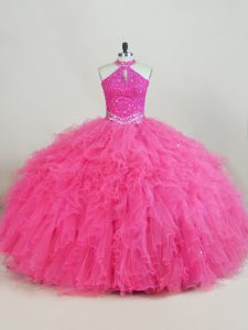 Customized Sleeveless Tulle Floor Length Lace Up Sweet 16 Dresses in Hot Pink with Beading and Ruffles