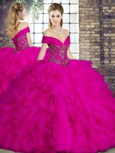 Designer Floor Length Fuchsia Vestidos de Quinceanera Tulle Sleeveless Beading and Ruffles