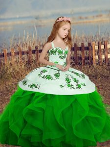 Cheap Green Ball Gowns Embroidery and Ruffles Winning Pageant Gowns Lace Up Organza Sleeveless Floor Length