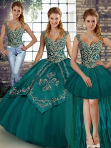 Designer Floor Length Teal 15th Birthday Dress Straps Sleeveless Lace Up
