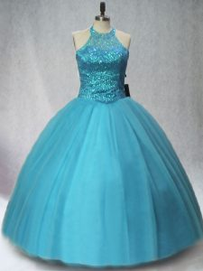 Sleeveless Tulle Floor Length Lace Up Sweet 16 Dress in Teal with Beading