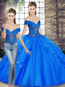 Floor Length Royal Blue Quinceanera Gown Tulle Sleeveless Beading and Ruffles