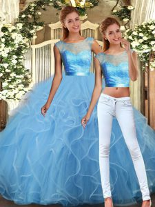 Scoop Sleeveless Backless Sweet 16 Dress Baby Blue Tulle