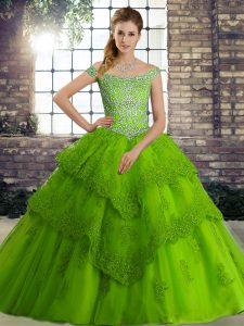 Perfect Sleeveless Brush Train Lace Up Beading and Lace Ball Gown Prom Dress