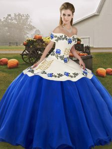 Embroidery and Ruffles Quince Ball Gowns Blue And White Lace Up Sleeveless Floor Length