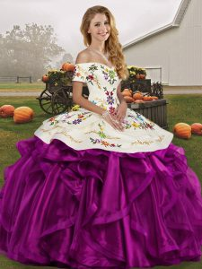 Sweet White And Purple Sleeveless Organza Lace Up Teens Party Dress for Military Ball and Sweet 16 and Quinceanera