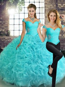 Classical Sleeveless Lace Up Floor Length Beading Sweet 16 Dresses