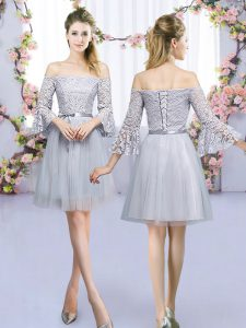 Mini Length Empire 3 4 Length Sleeve Grey Dama Dress for Quinceanera Lace Up