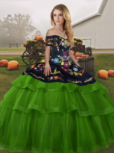 Enchanting Embroidery and Ruffled Layers Sweet 16 Dress Green Lace Up Sleeveless Brush Train