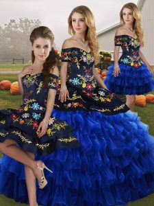Sweet Blue And Black Ball Gowns Organza Off The Shoulder Sleeveless Embroidery and Ruffled Layers Floor Length Lace Up Quinceanera Gowns