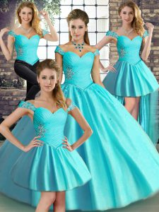 Aqua Blue Ball Gowns Beading Ball Gown Prom Dress Lace Up Tulle Sleeveless Floor Length