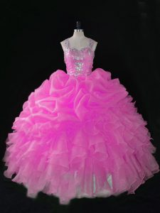 Comfortable Rose Pink Zipper Straps Beading and Ruffles and Pick Ups Quinceanera Dress Organza Sleeveless