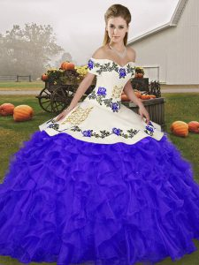 On Sale Sleeveless Lace Up Floor Length Embroidery and Ruffles Quinceanera Dresses