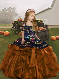 Brown Sleeveless Floor Length Embroidery and Ruffles Lace Up Kids Pageant Dress