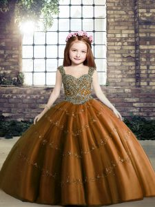 Brown Straps Neckline Beading Little Girls Pageant Dress Sleeveless Lace Up
