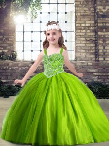 Floor Length Ball Gowns Sleeveless Green Little Girl Pageant Dress Lace Up