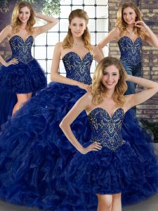 Sweet Royal Blue Organza Lace Up Sweet 16 Dress Sleeveless Floor Length Beading and Ruffles