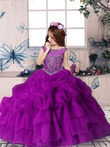 Sleeveless Beading and Pick Ups Zipper Little Girls Pageant Dress Wholesale