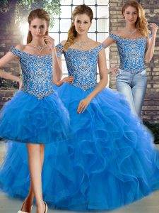 Graceful Blue 15 Quinceanera Dress Off The Shoulder Sleeveless Brush Train Lace Up
