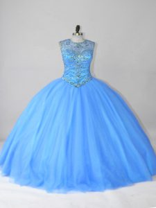Scoop Sleeveless Lace Up Quinceanera Dresses Blue Tulle