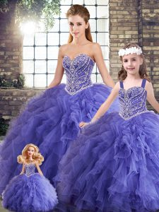 Noble Floor Length Ball Gowns Sleeveless Lavender Quince Ball Gowns Lace Up