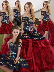 Red And Black Sleeveless Organza Lace Up Quinceanera Dresses for Military Ball and Sweet 16 and Quinceanera