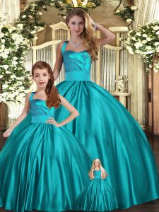 Stylish Halter Top Sleeveless Sweet 16 Quinceanera Dress Floor Length Ruching Teal Satin