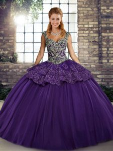 Purple Sleeveless Tulle Lace Up Ball Gown Prom Dress for Military Ball and Sweet 16 and Quinceanera