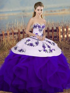 On Sale Sleeveless Floor Length Embroidery and Ruffles and Bowknot Lace Up Quinceanera Gowns with White And Purple