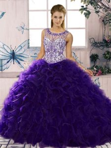 High Class Sleeveless Floor Length Beading and Ruffles Lace Up Sweet 16 Quinceanera Dress with Purple