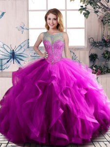 Purple Scoop Neckline Beading and Ruffles Quinceanera Gown Sleeveless Lace Up