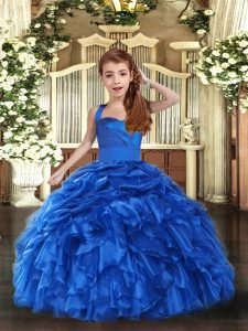 Best Straps Sleeveless Lace Up Little Girls Pageant Gowns Royal Blue Organza