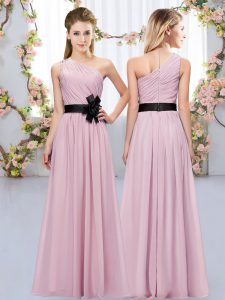 Custom Fit Floor Length Zipper Quinceanera Court Dresses Pink for Wedding Party with Belt