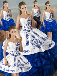 Exquisite Sleeveless Embroidery and Ruffles Lace Up Ball Gown Prom Dress