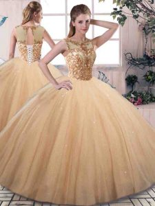 Best Selling Gold Scoop Lace Up Beading Ball Gown Prom Dress Sleeveless