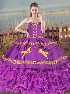Dramatic Embroidery and Ruffled Layers Sweet 16 Dress Purple Lace Up Sleeveless