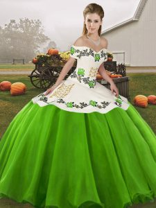 Great Sleeveless Embroidery Lace Up Quince Ball Gowns