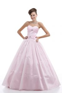 Pink Lace Up Sweetheart Beading Quinceanera Gown Organza Sleeveless