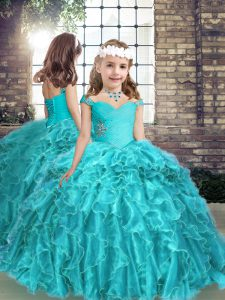 Aqua Blue Straps Lace Up Beading and Ruffles Little Girls Pageant Gowns Sleeveless