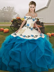 Glorious Sleeveless Lace Up Floor Length Embroidery and Ruffles Quinceanera Gowns